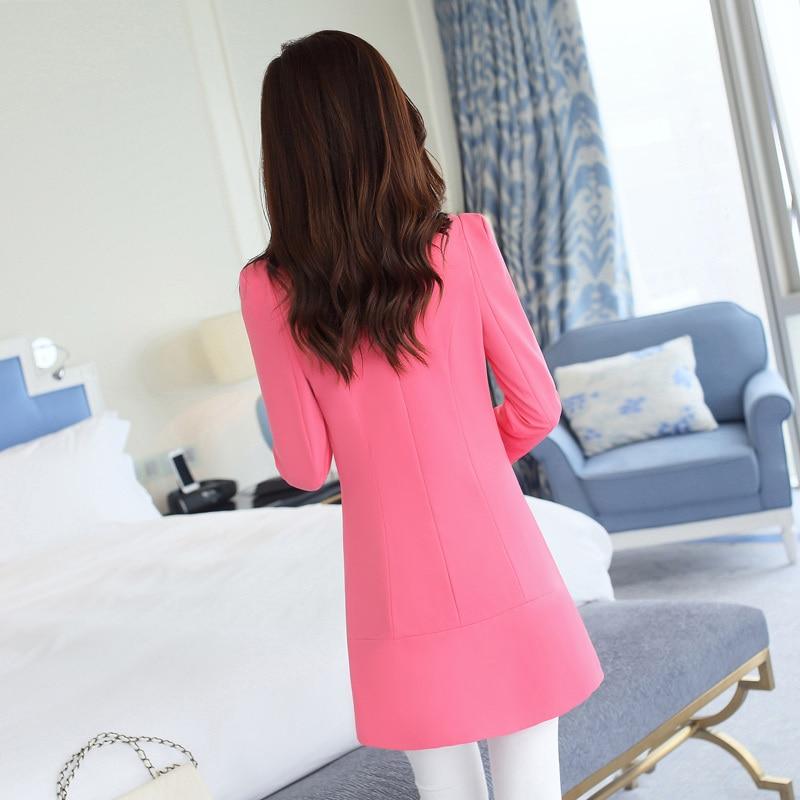 Aliexpress.com : Buy Gentle Pink Women Long Collarless Blazers ...