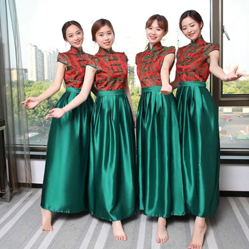 Chinese Traditional Women Mandarin Collar Qipao Summer Vinage Bridesmaid Plus Size Wedding Dress Long Vestido De Festa S-XXL