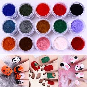 Image 1 - 10Ml Fuzzy Stroomden Kleurrijke Stof Voor Diy Nail Kerst Decoratie Fluwelen Nail Glitter Poeder Voor Nagellak