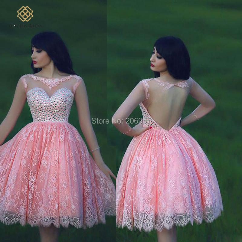 Lovely Girls Pink Lace Short Ball Gown Prom Dresses Sparkly Beaded ...