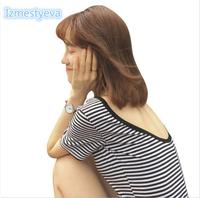Summer Women Korean Stripes Hit Color Slim Was Thin Back Short Sleeve T Shirt