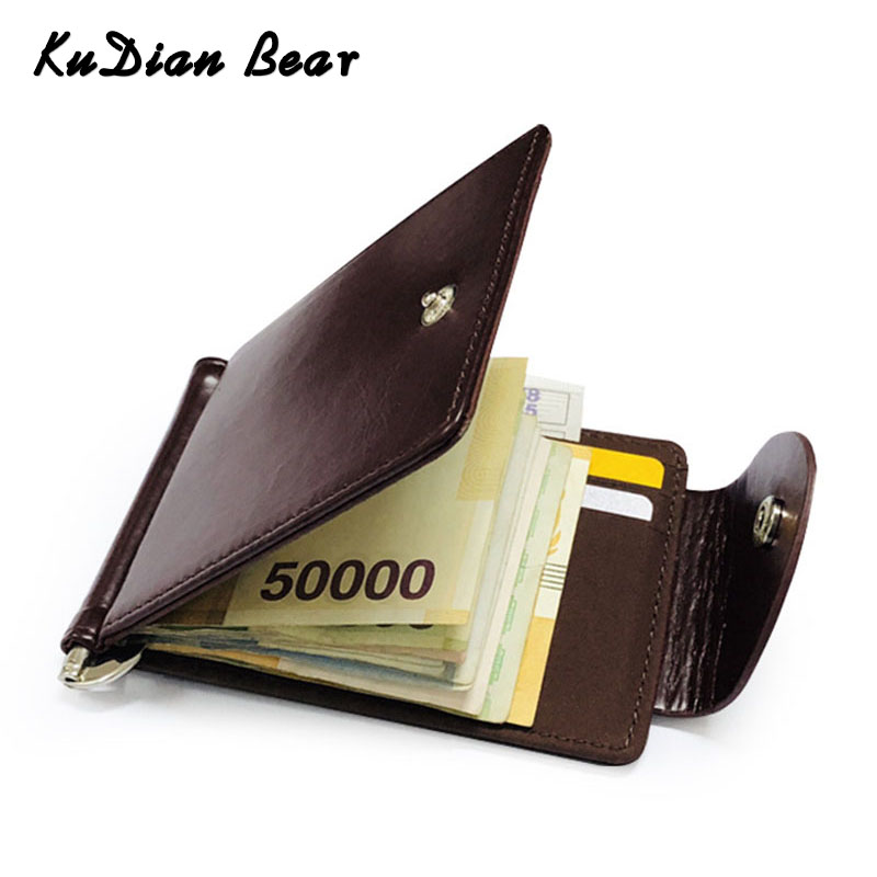 KUDIAN BEAR Short Money Clip Rfid Men Money Wallet Leather Slim Male Card Organizer Minimalist Carteras Hombre BID249 PM49