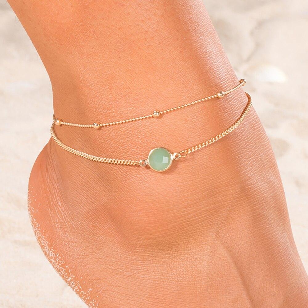 EN 2018 Boho Opal Female Anklets Barefoot Crochet Sandals Foot Jewelry Leg New Anklets On Foot Ankle Bracelets For Women