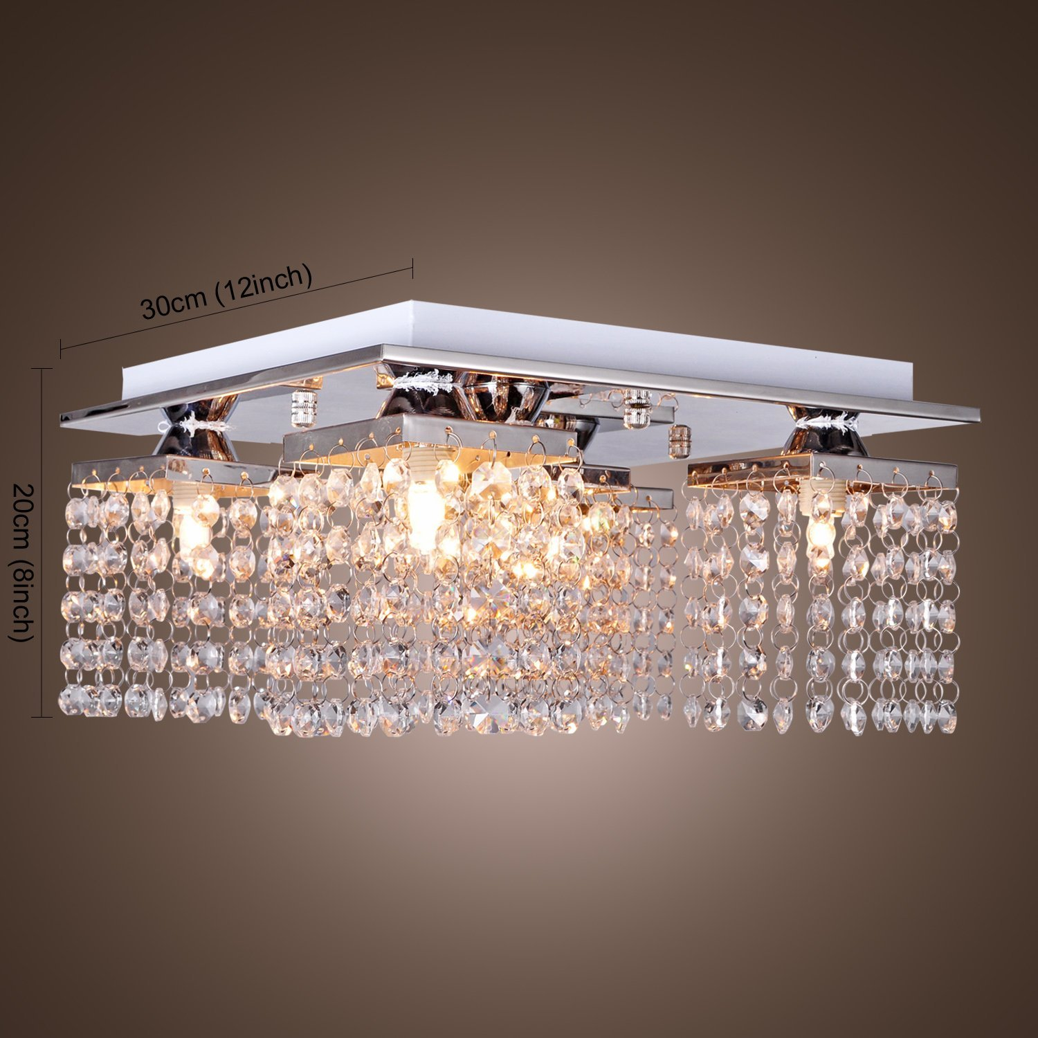Modern Fashion Crystal ceiling lamp with 5 lights LED stainless ...