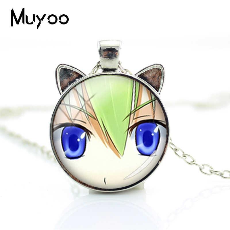 2019 nouveauté mode Anime oeil animaux oreilles collier Anime oeil bijoux cadeaux pour enfants verre Cabochon argent chats collier