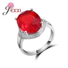 d887c77f9 JEXXI تألق أحمر عميق البيضاوي عصابة الكريستال النقي 925 فضة للمرأة الناضجة  الاصبع خواتم رومانسية اكسسوارات