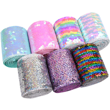 AHB 25Yards Reversible Sequin Ribbon 75MM Laser DIY Hair Accessories Wedding Party Holiday Decor Materials