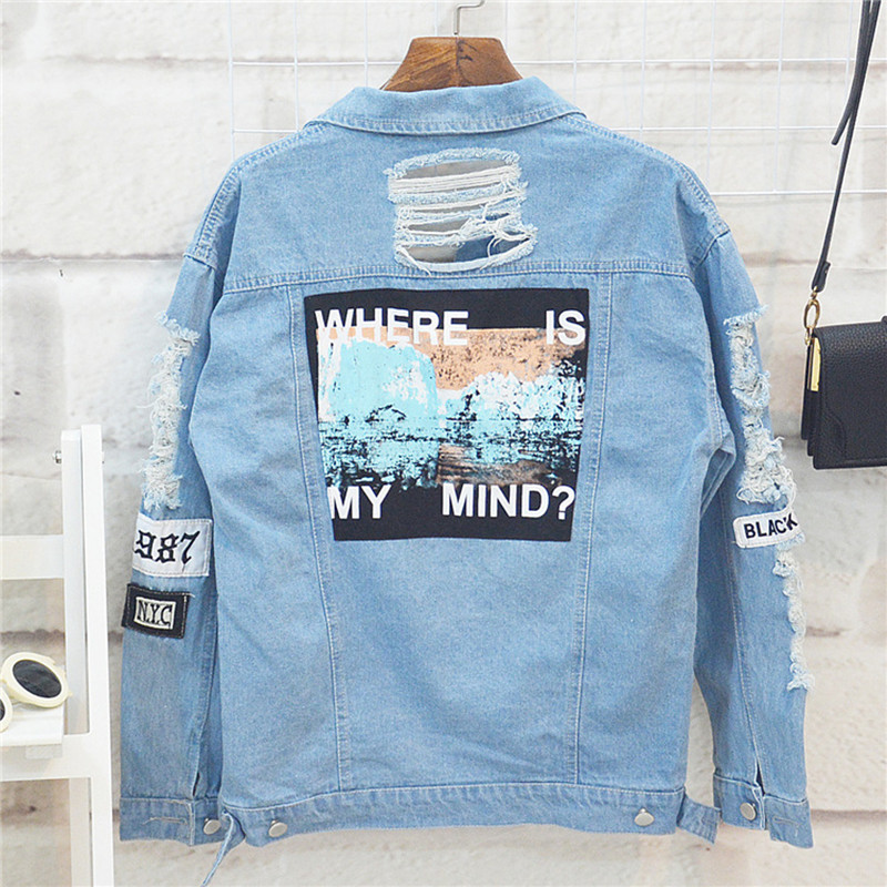 Danjeaner Where is My Mind? Korea Retro Washing Frayed Embroidery Letter Patch Bomber Jacket Blue Ripped Distressed Denim Coats