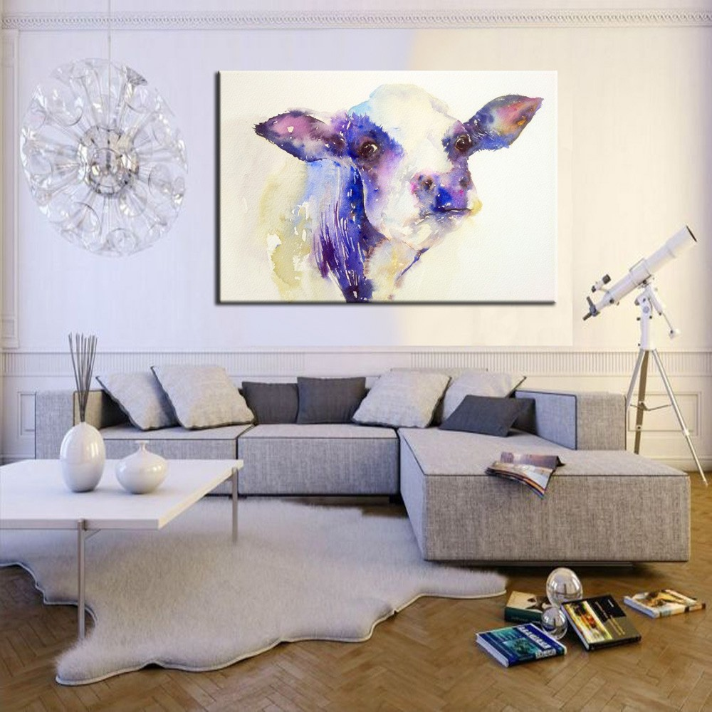 Hand Painting Modern Home Decoration Oil Painting Cartoon Cows  -> Pintura Parede Sala