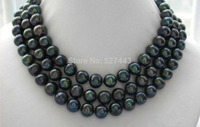 Wholesale fast Natural AAA 9-10mm black tahitian pearl necklace 48