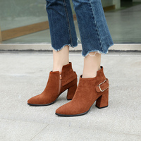 2018 Plus Size Women 7.5cm High Heels Ankle Boots Thick Block Heels Winter Short Plush Maroon Tan Boots Brown Suede Dress Shoes