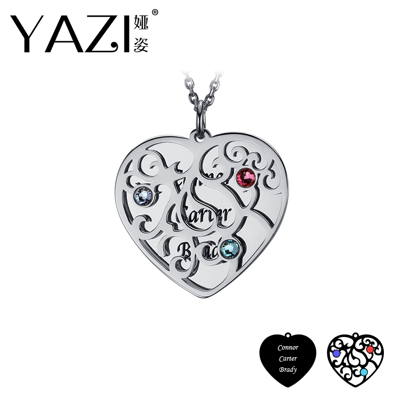 Personalized Heart Name Necklace Family Name Necklace Pendant with Birthstone/& Name