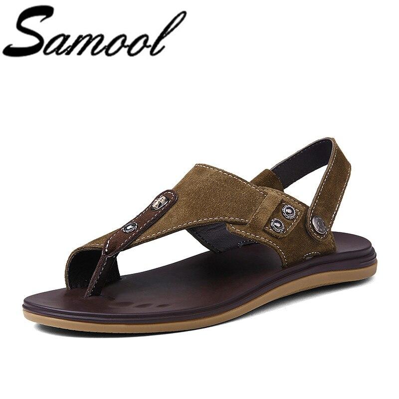 Summer Men Shoes Cow Suede Sandals Men Casual Shoes Outdoor Zapatillas Hombre Beach Shoes Mens Rubber Sole Men Sandals wx5