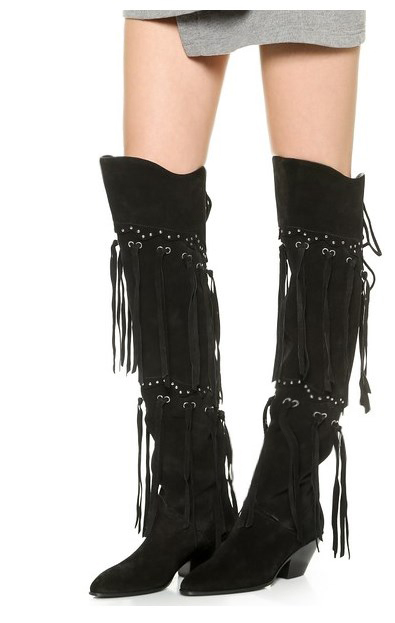 New stylish autumn winter tassel boots women chunky heel long boats fashion week style over knee high boots black knight booties ...