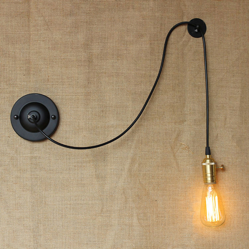 mini small wall lamps Vintage black rustic wall sconce lights Retro Loft Industrial Wall Lamp ...
