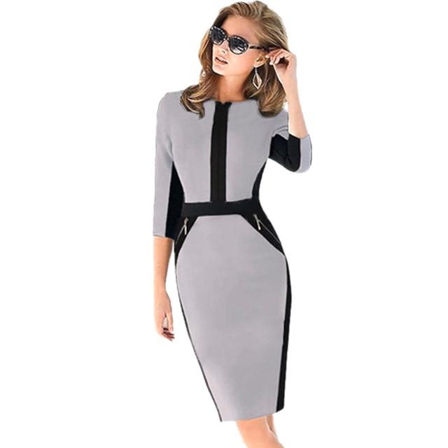 Nuevos vestidos otoño 2016 para mujeres con media manga, cremallera, de material elástico adelgazante hasta las rodillas, vestidos ajustados de damas para el trabajo en tallas grandes S-XXL