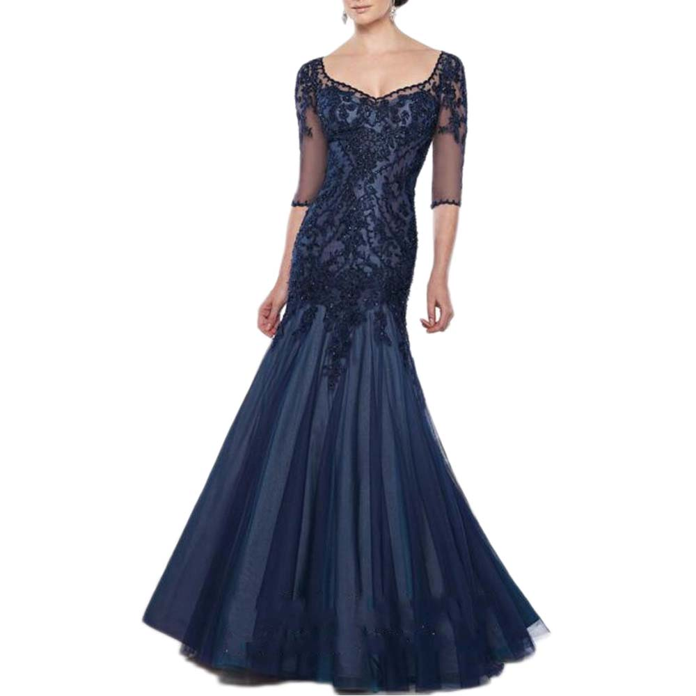 Navy Blue Mermaid Mother Of The Bride Dress Plus Size Godmother Wedding Party Gowns Vestido De Madrinha Robe Mere De Mariee