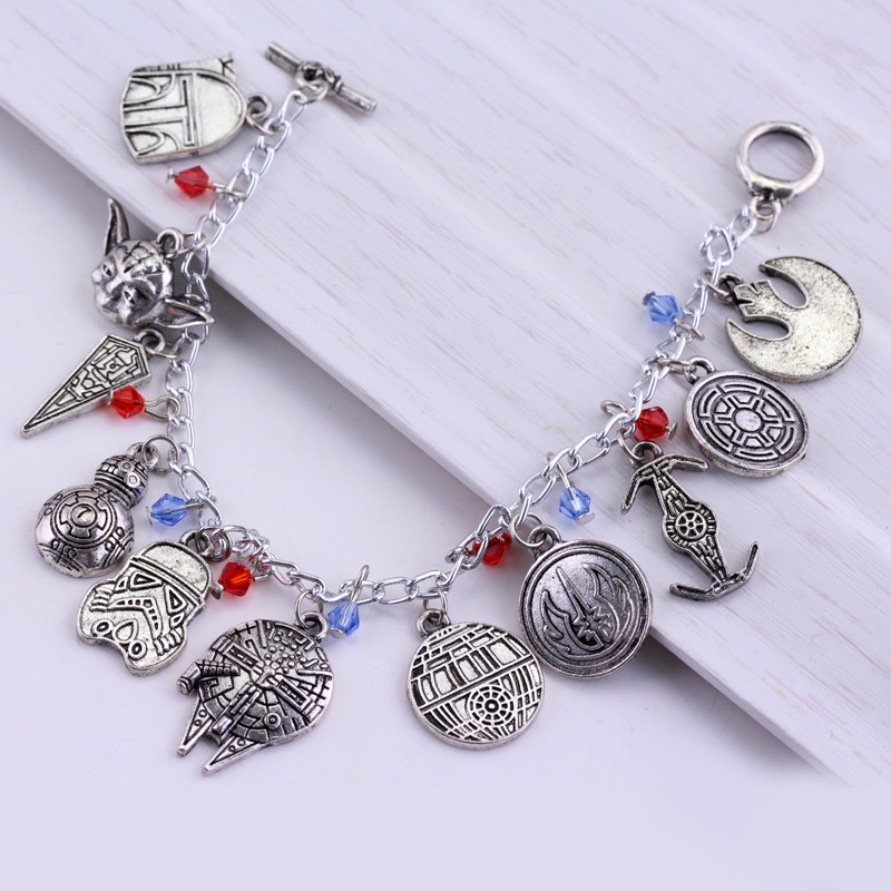 Star Wars Charm Bracelet Set Bb 8 Bb8 Darth Vader Stormtrooper Dead Earth Millennium Falcon In One Id Bracelets From Jewelry Accessories On