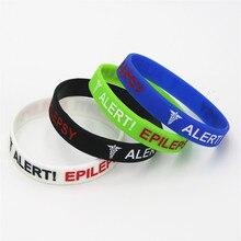 50 pièces épilepsie Bracelets alerte médicale épilepsie Silicone bracelet sensibilisation brassard infirmière Bracelets adulte bijoux en gros SH135