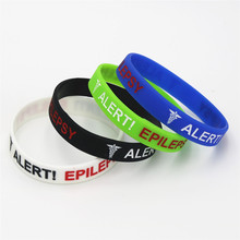 50 stks Epilepsie Armbanden Medische Alert Epilepsie Siliconen Polsbandje Awareness Armband Verpleegkundige Bangles Volwassen Sieraden Groothandel SH135