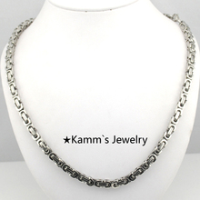Promotion! 55cm Mens Jewelry Chains Silver Stainless Steel Chunky Necklace Lobster Clasp Byzantine Box Chain 4.5mm Music KN265
