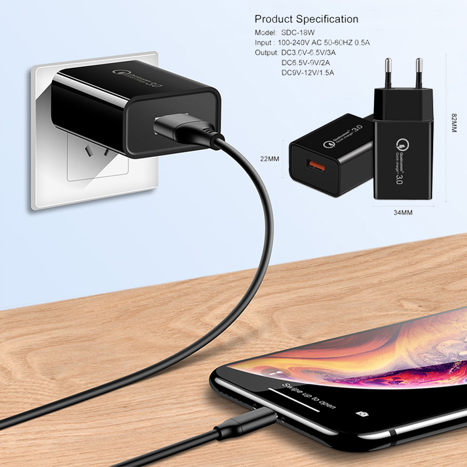 18W Travel Wall Carregador Portatil Fast USB Mobile Phone Charger Cargador For Apple iphone Oplader Caricatore Quick Charge 3 0 in Mobile Phone Chargers from Cellphones Telecommunications