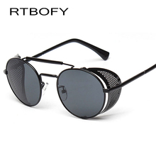 RTBOFY Coating Sunglass Steampunk Round Fashion Sunglasses Women 2017 Brand Designer Steam Punk Metal Retro Sun glasses