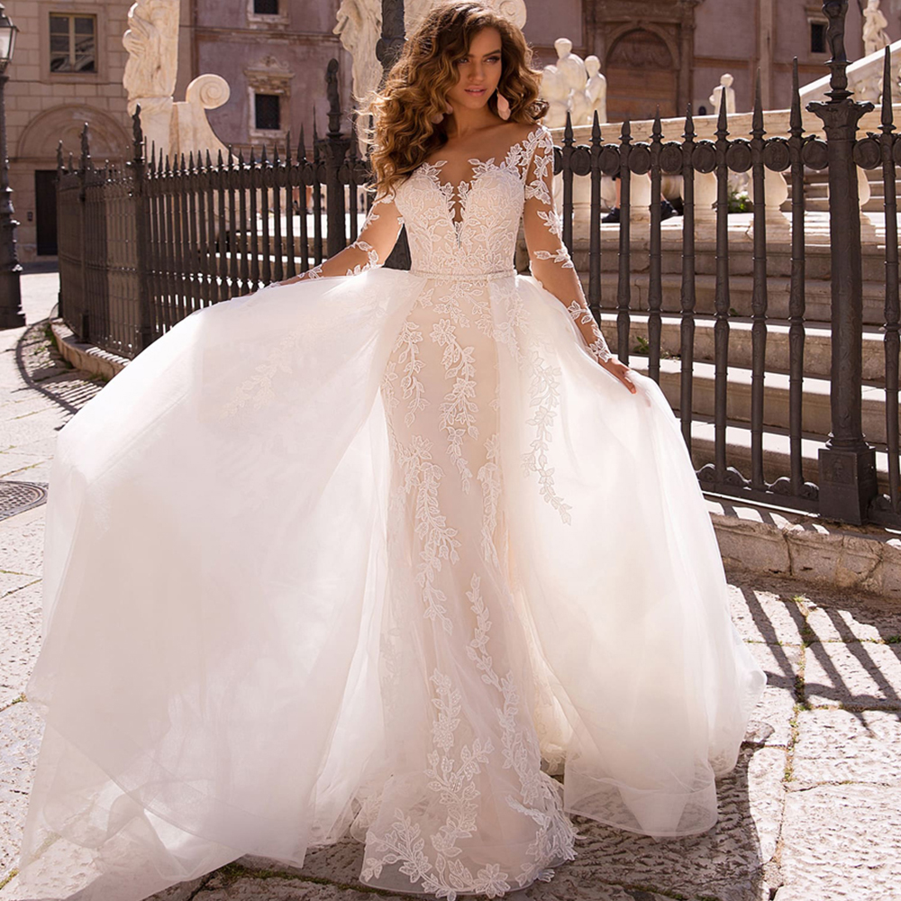 Vestido De Noiva Long Sleeve Mermaid Wedding Dress 2019 With Detachable Train Luxury Suknia Slubna Tulle Appliques Trouwjurk