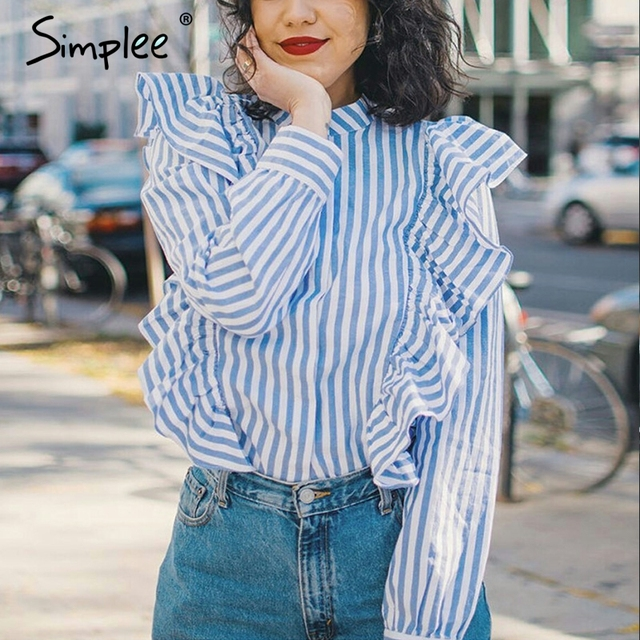 Simplee Long sleeve blouse shirt women tops Casual 2017 summer ruffle striped shirt Cotton white blouse chemise femme blusas