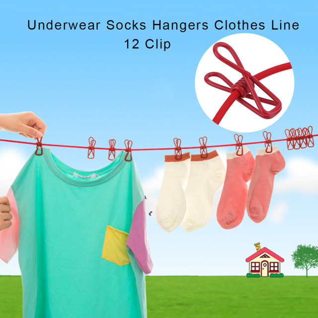 Multi Tool Portable Outdoor Travel Windproof Clothes Line Drying Rack 12 Clamp Clip Socks Underwear Clothing Clip Holder Hanging