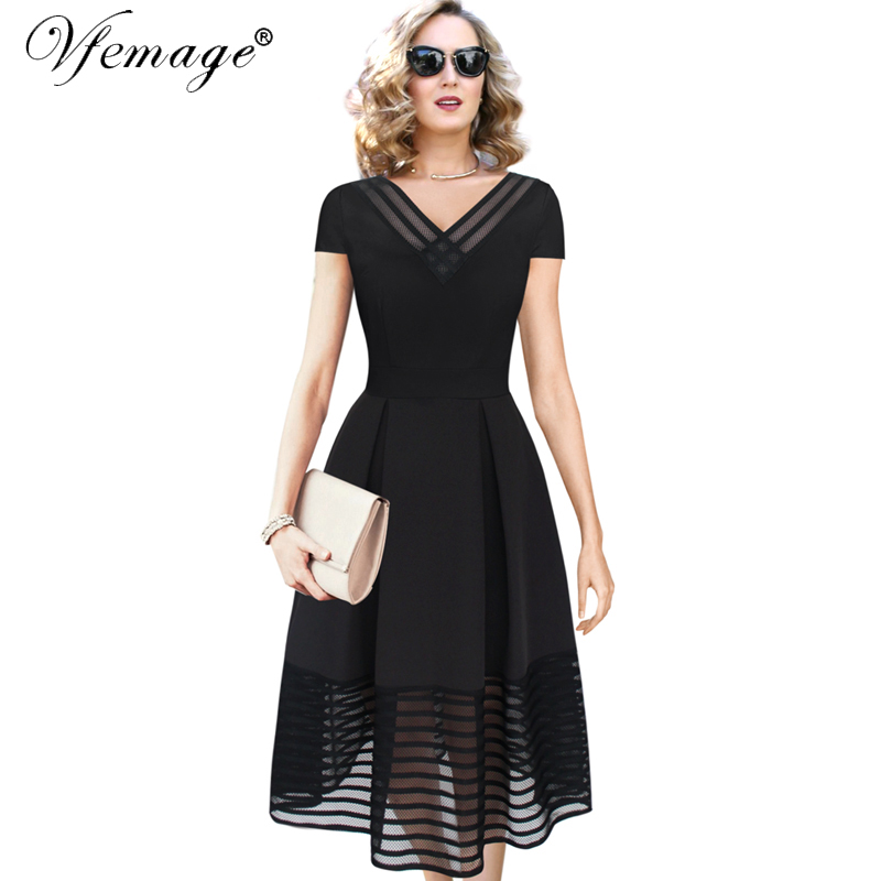 Vfemage Women Elegant Sexy Mesh Vintage Tunic Casual Party