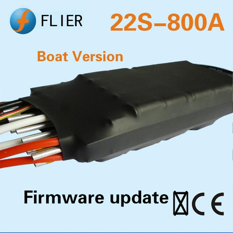 Contrôleur de vitesse sans brosse ESC haute tension FATJAY FLIER 800A 4-22 S avec boîte de programmation usb pour bateau RC