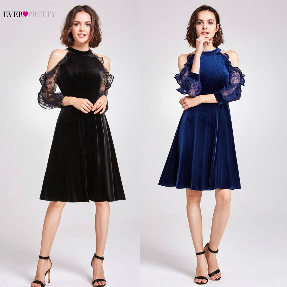 Sexy Halter Cocktail Party Dresses Ever Pretty 05896 Elegant Velvet Autumn Winter Ruffles Lace Long Sleeves 2020 Cocktail Dress