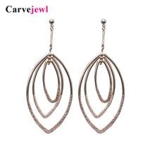 Carvejewl drop earrings 3 oval circle metal horse eyes pendant Dangle Earrings For Women jewelry fashion European 2019