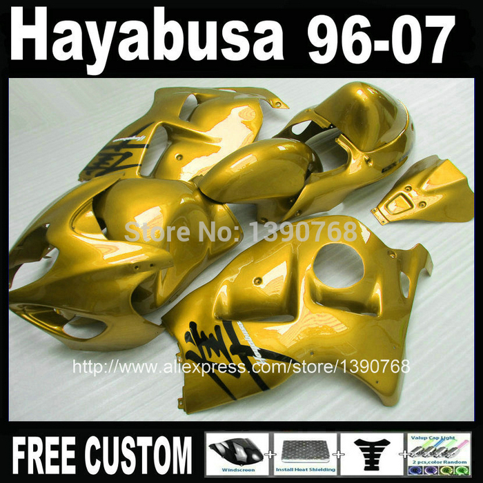High Quality ABS  for SUZUKI Hayabusa fairing kit GSXR1300 1996-2007 all golden fairings set GSX1300R 96-07 FF38