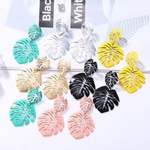 HOCOLE 2019 New Leaf Drop Earring For Women Vintage Long Metal  Leaves Earrings Geomotric Jewelry Fashion Brincos