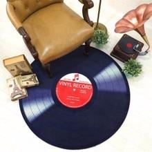 Alfombra redonda con estampado de discos de vinilo en 3D para sala de estar alfombra antideslizante alfombrilla de ordenador alfombrilla para suelo y silla para decoración del hogar habitación de niños
