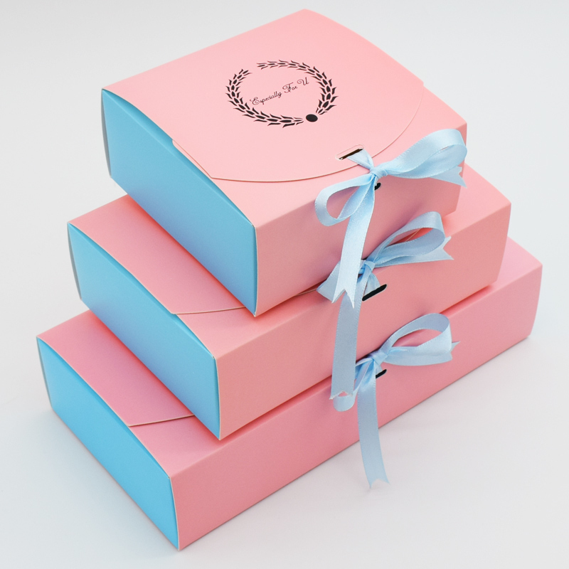 100 Pcs Wedding Gift Box Party Favor Present Kraft Paper Box For Food Candy Cookies Packing Cake Boxes Packaging With Ribbon in Gift Bags Wrapping Supplies from Home Garden