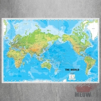 Blue World Map Large Canvas Art Print Painting Poster Wall Picture For Living Room Home Decorative