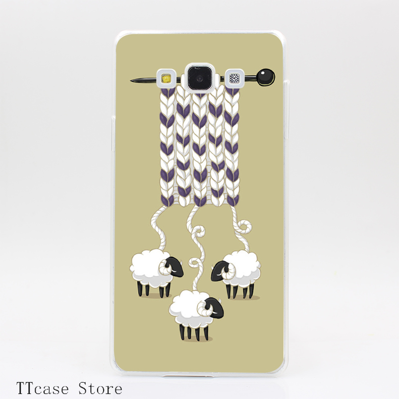 4126CA Wool Scarf Transparent Hard Cover Case for Galaxy A3 A5 A7 A8 Note 2 3 4 5 J5 J7 Grand 2 & Prime
