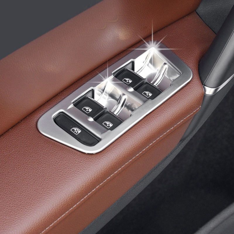 Left Hand Drive! For VW Volkswagen Golf 7 MK7 2014-2018 ABS Matte Interior Door Armrest Window Switch Button Cover Trim 4pcs