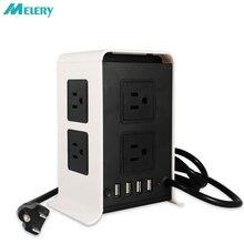 Vertical Régua De Energia USB Outlets Surge Protector 4 8 AC EUA Plug Soquete com USB Porto de Carregamento Estação de Energia de Viagem adaptador