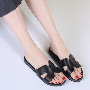 Image 3 - TKN sandals women slippers 2019 summer slip on flat slides sandals women leather suede slides ladies slippers flip flops 322