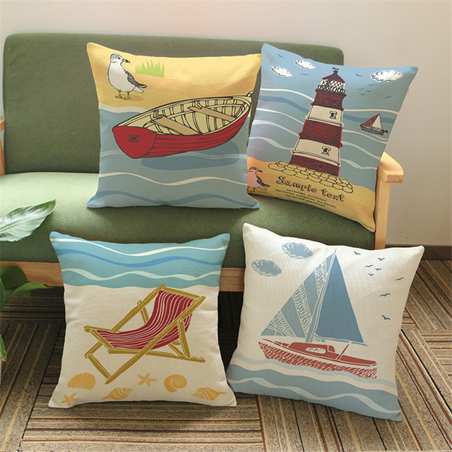 Sun Shine Ocean Sea Sailing Boat Lighthouse Beach Chair Wave Cushion Cover  Cotton Pillow Case Home