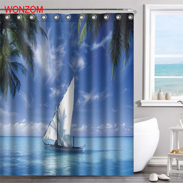 WONZOM Ocean Boat Polyester Fabric Island Shower Curtain Bathroom Decor Sea Wave Waterproof Cortina De Bano With Hooks 2017 Gift