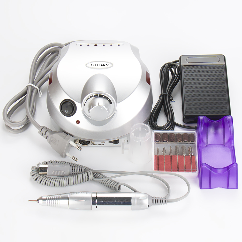 Nail Art File Bits Machine Manicure Kit 30000 RPM 110V/220V Silver Electric Nail Drill Professional Nail Tools