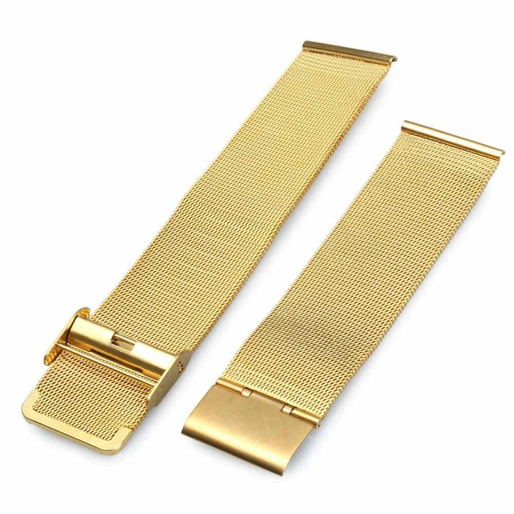 """החדש Arrvial 20 מ""""מ צמיד רשת נירוסטה החלפת רצועת להקת שעון יד גברים נשים כסף/זהב/שחור"""