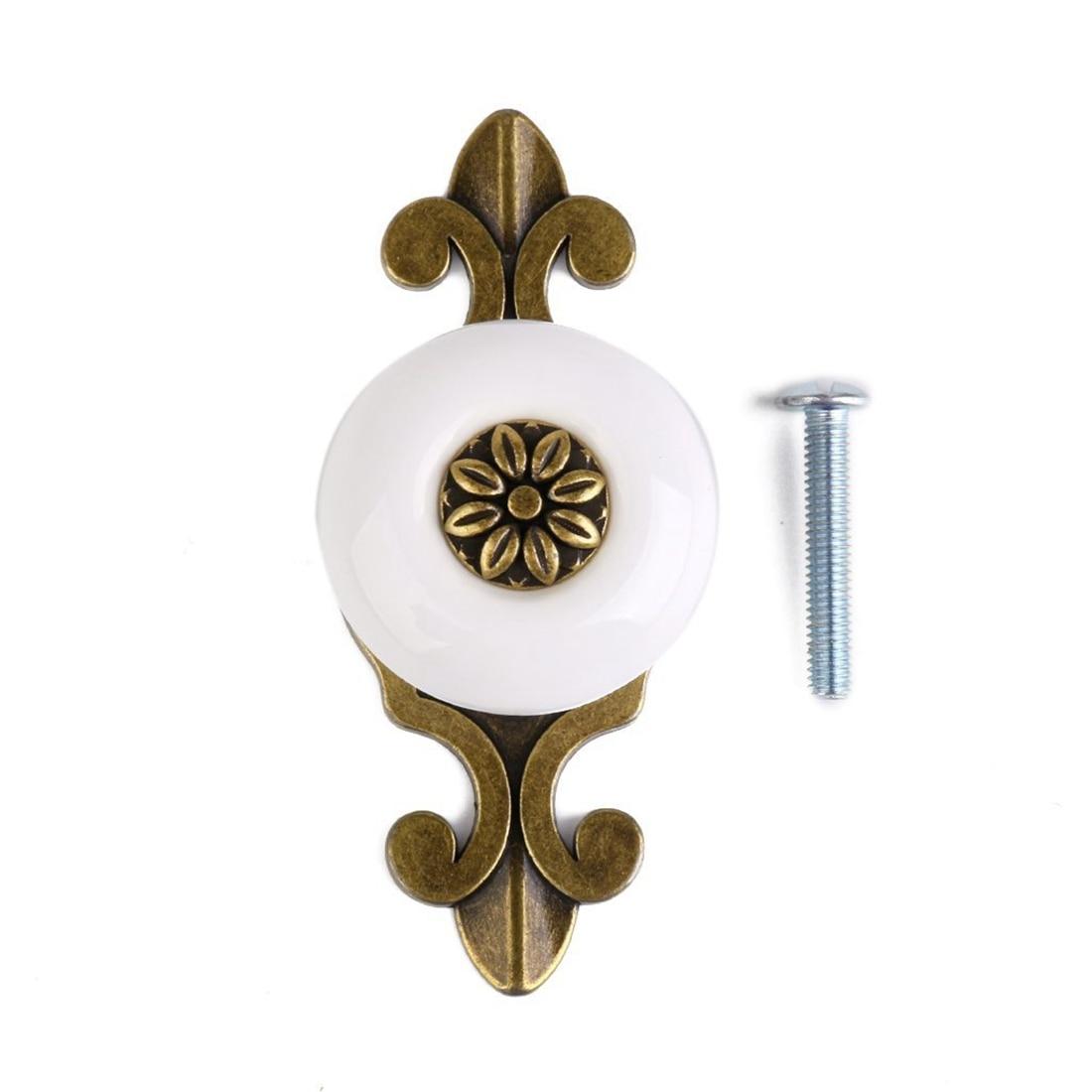 CNIM Hot 1pc Retro Furniture Drawer Cabinet Wardrobe Ceramic Round Knob Metal Pull Handle (Bronze + White)