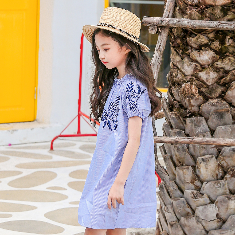 2018 Summer Baby Girls Holiday Vacation Dress Floral Dream Blue Sweet Princess Party Clothes Age56789 10 11 12 13 14 15Years Old 2018 princess girls polka dot dress red ruffled layers design sweet country style smocked for age56789 10 11 12 13 14 years old