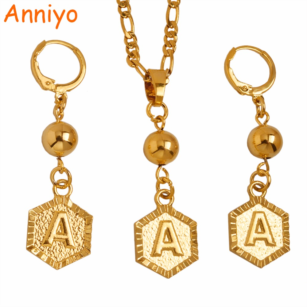 Anniyo A-Z Letters Gold Color Beads Pendant & Earrings Initial Chain for Women,Ball Necklace English Letter Jewelry #101006S